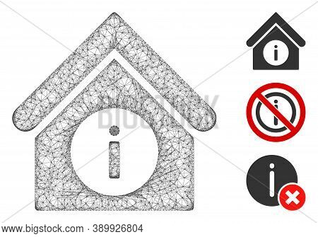 Mesh Info Building Polygonal Web Icon Vector Illustration. Carcass Model Is Based On Info Building F