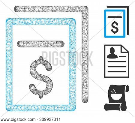 Mesh Invoices Polygonal Web Icon Vector Illustration. Carcass Model Is Based On Invoices Flat Icon.