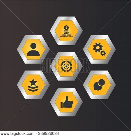 Set Of Vector Mobile Action Game Icons. App Template Hexagon Buttons For Shooting Game, User Interfa