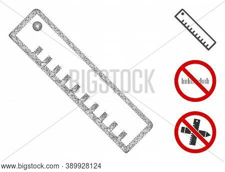 Mesh Length Ruler Polygonal Web Icon Vector Illustration. Carcass Model Is Created From Length Ruler