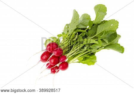 Bunch Of Fresh Radish With Leaves Isolated On White Background