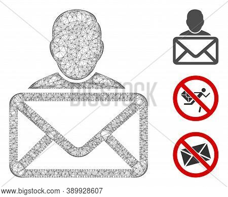 Mesh Mail Recipient Polygonal Web Icon Vector Illustration. Carcass Model Is Based On Mail Recipient
