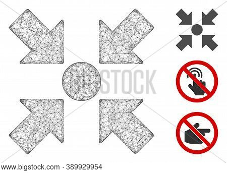 Mesh Meeting Point Polygonal Web Symbol Vector Illustration. Carcass Model Is Based On Meeting Point