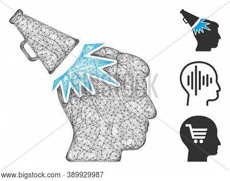 Mesh Megaphone Impact Head Polygonal Web 2d Vector Illustration. Carcass Model Is Based On Megaphone