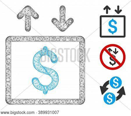 Mesh Money Elevator Polygonal Web Symbol Vector Illustration. Model Is Based On Money Elevator Flat
