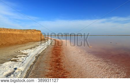 dead salt lake shore under blue sky. Pink salt lake near Azov Sea in Ukraine