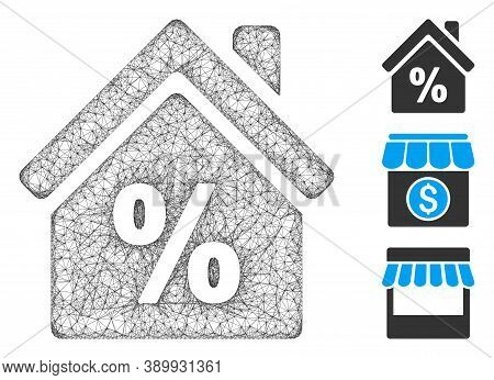 Mesh Mortgage Discount Polygonal Web Icon Vector Illustration. Model Is Created From Mortgage Discou