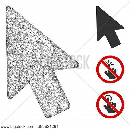 Mesh Mouse Pointer Polygonal Web 2d Vector Illustration. Carcass Model Is Based On Mouse Pointer Fla
