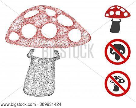 Mesh Mushroom Polygonal Web Icon Vector Illustration. Carcass Model Is Based On Mushroom Flat Icon.