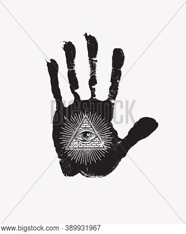 Black Print Of A Human Hand With All Seeing Eye Symbol On A White Background. Vector Hand-drawn Bann
