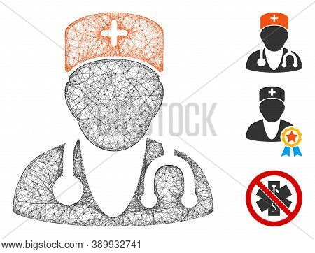 Mesh Physician Polygonal Web Symbol Vector Illustration. Carcass Model Is Based On Physician Flat Ic