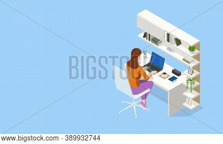 Isometric Contemporary Workspace. Interior Modern Living Room Workspace With Desk And Desktop Comput