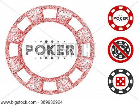 Mesh Poker Casino Chip Polygonal Web Icon Vector Illustration. Abstraction Is Created From Poker Cas