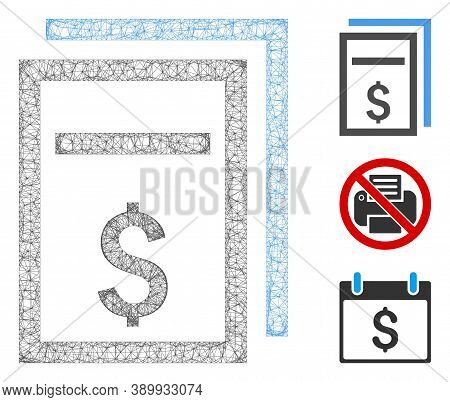 Mesh Price Copy Page Polygonal Web Icon Vector Illustration. Model Is Based On Price Copy Page Flat