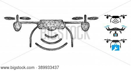 Mesh Radio Spy Drone Polygonal Web 2d Vector Illustration. Carcass Model Is Based On Radio Spy Drone