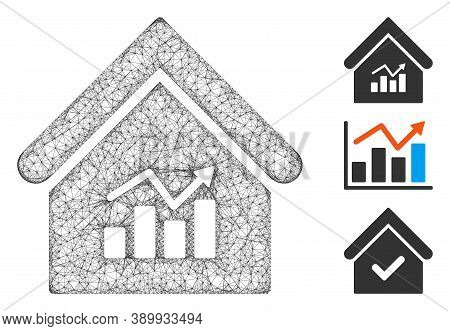 Mesh Realty Charts Polygonal Web Icon Vector Illustration. Carcass Model Is Based On Realty Charts F