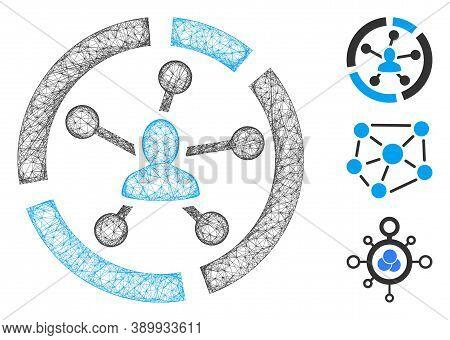Mesh Relations Diagram Polygonal Web 2d Vector Illustration. Model Is Based On Relations Diagram Fla