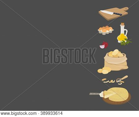 Vector Background With Copy Place. Spanish Potato Omelette Ingredients - Tortilla De Patata. Olive O