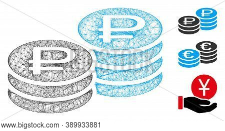 Mesh Rouble Coin Stacks Polygonal Web 2d Vector Illustration. Model Is Based On Rouble Coin Stacks F