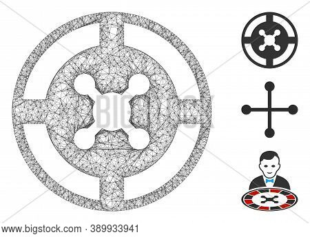 Mesh Roulette Polygonal Web Symbol Vector Illustration. Abstraction Is Based On Roulette Flat Icon.