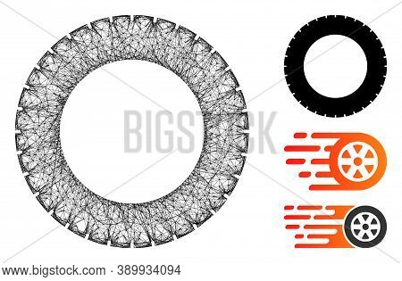 Mesh Rubber Tire Polygonal Web Icon Vector Illustration. Model Is Based On Rubber Tire Flat Icon. Tr
