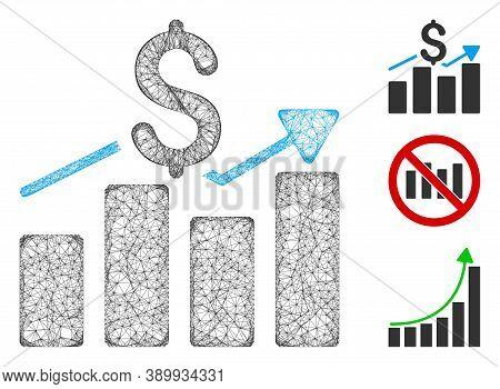 Mesh Sales Bar Chart Polygonal Web Icon Vector Illustration. Carcass Model Is Based On Sales Bar Cha