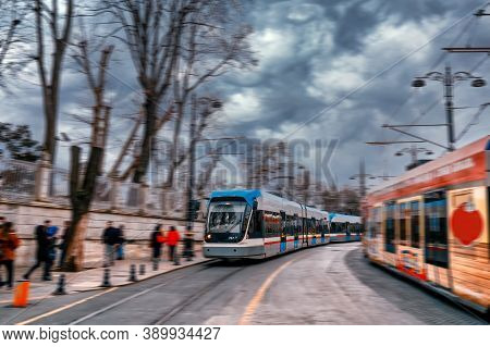 View Of A Moving Modern Tram In Motion Blur. Tram Moving On A Street Of Istanbul.
