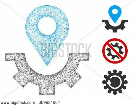 Mesh Service Map Marker Polygonal Web Icon Vector Illustration. Carcass Model Is Created From Servic