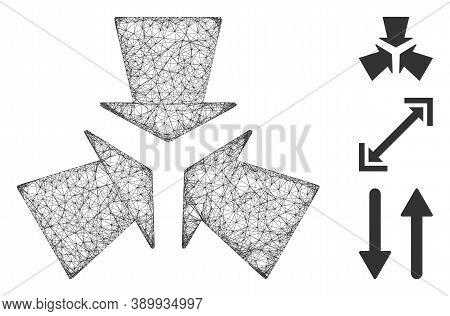 Mesh Shrink Arrows Polygonal Web Symbol Vector Illustration. Carcass Model Is Based On Shrink Arrows