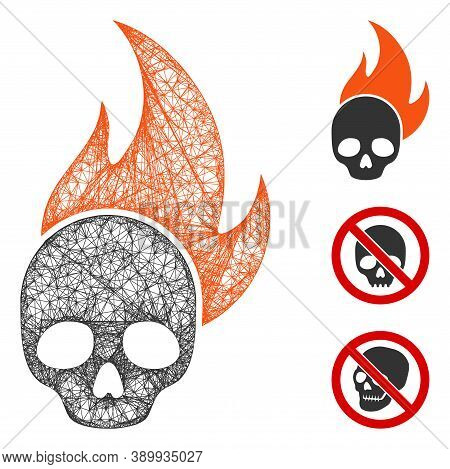 Mesh Skull Fire Polygonal Web Icon Vector Illustration. Abstraction Is Based On Skull Fire Flat Icon