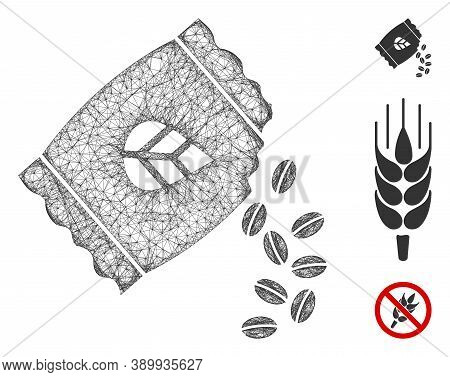 Mesh Sow Seed Pack Polygonal Web Icon Vector Illustration. Abstraction Is Created From Sow Seed Pack