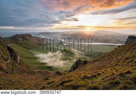 Epic Cloudy Sunrise At Te Mata Peak. Hawke's Bay, New Zealand.