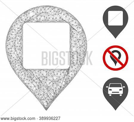Mesh Square Hole Map Marker Polygonal Web Icon Vector Illustration. Carcass Model Is Based On Square