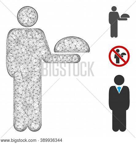 Mesh Standing Waiter Polygonal Web 2d Vector Illustration. Carcass Model Is Based On Standing Waiter