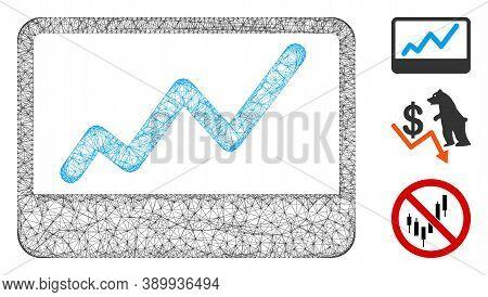 Mesh Stock Market Chart Polygonal Web Icon Vector Illustration. Model Is Based On Stock Market Chart