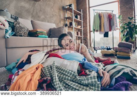 These All Are Mine. Photo Of Pretty Greedy Lady Stay Home Quarantine Lying Hug Many Heap Stack Floor