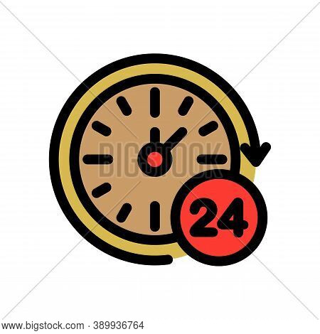 24 Hour Private Clinic Icon. Outline 24 Hour Private Clinic Vector Icon For Web Design Isolated On W