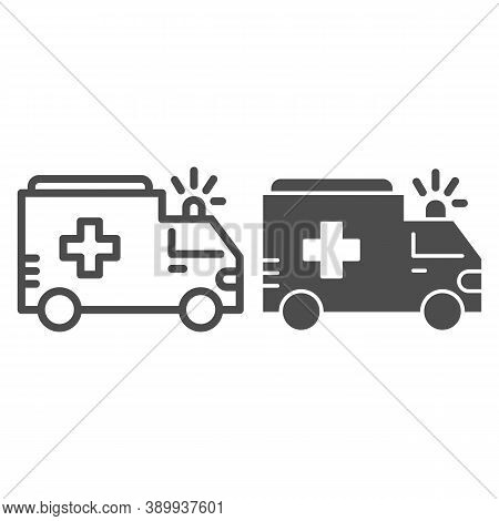 Ambulance Line And Solid Icon, Public Transport Concept, First-aid Car Sign On White Background, Amb