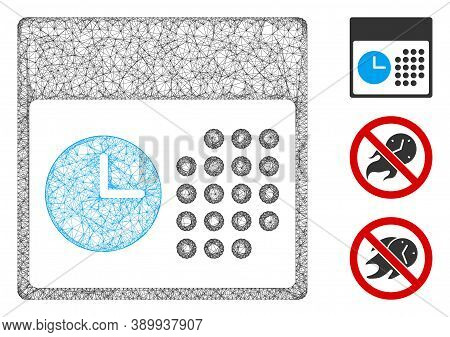 Mesh Time And Date Polygonal Web Icon Vector Illustration. Carcass Model Is Based On Time And Date F