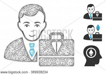 Mesh Ton Accounter Polygonal Web Icon Vector Illustration. Carcass Model Is Based On Ton Accounter F