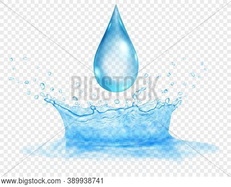 Translucent Water Crown Of Two Layers - Top And Bottom, And Big Drop. Splash In Light Blue Colors Wi