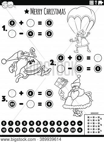 Black And White Cartoon Illustration Of Educational Mathematical Addition And Subtraction Puzzle Tas