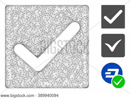 Mesh Valid Tick Polygonal Web Icon Vector Illustration. Carcass Model Is Created From Valid Tick Fla