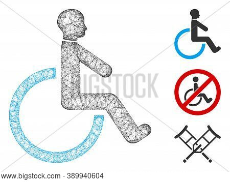 Mesh Wheelchair Polygonal Web Icon Vector Illustration. Carcass Model Is Created From Wheelchair Fla