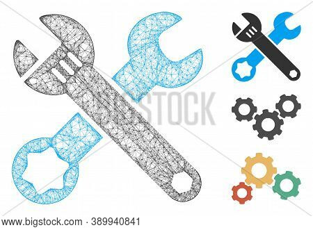 Mesh Wrenches Polygonal Web Icon Vector Illustration. Carcass Model Is Based On Wrenches Flat Icon.