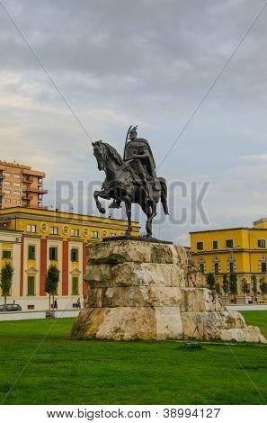 Tirana, Albania - monument of Skanderbeg poster