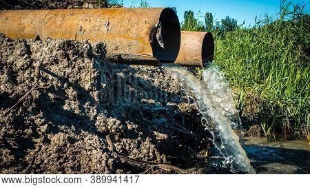 Ecology, Environmental Pollution,wastewater Discharge In The Forest,into Nature,industrial Pollution
