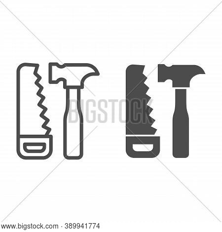 Saw And Hammer Line And Solid Icon, House Repair Concept, Carpentry Tools Sign On White Background,