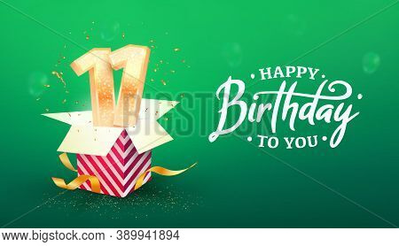 11 Years Anniversary Vector Banner Template. Eleven Years Jubilee With Paper Box On A Green Backgrou