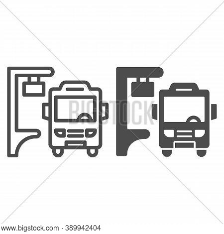 Bus Stop Line And Solid Icon, Public Transport Concept, Silhouette Of Bus At Stop Sign On White Back